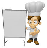 3D Chef Man Mascot is concise explanation of a whiteboard. Work Stock Photo