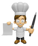 3D Chef Man Mascot hand is holding a Document and ballpoint pen. Stock Photos