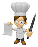 3D Chef Man Mascot hand is holding a Document and ballpoint pen. Royalty Free Stock Photo