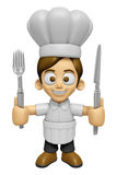3D Chef Man Mascot hand is holding a Fork and Knife. Work and Jo Stock Photos