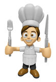 3D Chef Man Mascot hand is holding a Fork and Knife. Work and Jo Royalty Free Stock Photo