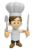 3D Chef Man Mascot hand is holding a Fork and Knife. Work and Jo Stock Images