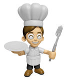 3D Chef Man Mascot hand is holding a Fork and Plate. Work and Jo Stock Photos