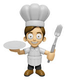 3D Chef Man Mascot hand is holding a Fork and Plate. Work and Jo Stock Photo
