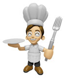 3D Chef Man Mascot hand is holding a Fork and Plate. Work and Jo Royalty Free Stock Photography