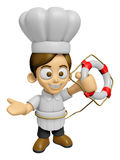 3D Chef Man Mascot the hand is holding a Lifebelt. Work and Job Royalty Free Stock Photo