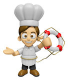 3D Chef Man Mascot the hand is holding a Lifebelt. Work and Job Royalty Free Stock Images