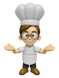 3D Chef Man Mascot has been welcomed with both hands. Work and J Royalty Free Stock Image
