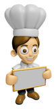 3D Chef Man Mascot holding a big board with both hands. Work and Royalty Free Stock Image