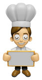 3D Chef Man Mascot holding a big board with both hands. Work and Stock Image
