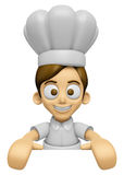 3D Chef Man Mascot holding a big board with both hands. Work and Stock Photo