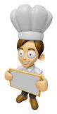 3D Chef Man Mascot holding a big board with both hands. Work and Royalty Free Stock Images