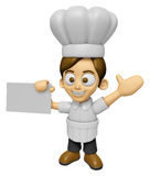 3D Chef Man Mascot is holding a business card. Work and Job Char Royalty Free Stock Image