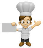 3D Chef Man Mascot is holding a business card. Work and Job Char Royalty Free Stock Photography