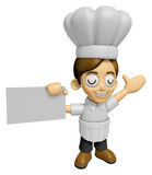 3D Chef Man Mascot is holding a business card. Work and Job Char Stock Photos