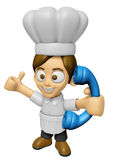 3D Chef Man Mascot just calls me back when you have more time. W Royalty Free Stock Photos