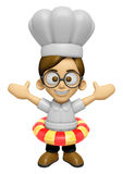 3D Chef Man Mascot is played in the pool on a tube. Work and Job Royalty Free Stock Photography