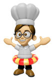 3D Chef Man Mascot is played in the pool on a tube. Work and Job Stock Photo