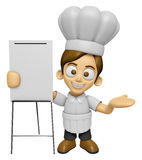 3D Chef Man Mascot is presentation in front of the a briefing ch Stock Image