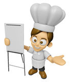 3D Chef Man Mascot is presentation in front of the a briefing ch Stock Photo