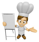 3D Chef Man Mascot is presentation in front of the a briefing ch Royalty Free Stock Image