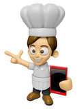 3D Chef Man Mascot the right hand guides and the left hand is ho Stock Photography