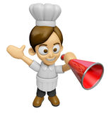 3D Chef Man Mascot is speakn over a loudspeaker. Work and Job Ch Royalty Free Stock Photo