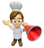 3D Chef Man Mascot is speakn over a loudspeaker. Work and Job Ch Stock Image