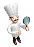 3D Chef mascot examine a with a magnifying glass Royalty Free Stock Photo