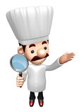 3D Chef mascot examine a with a magnifying glass Royalty Free Stock Image