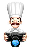 3D Chef Mascot Grabs a Old camera Stock Image
