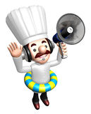 3D Chef Mascot the hand is holding a loudspeaker Royalty Free Stock Photos
