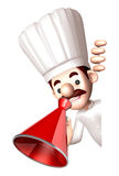 3D Chef Mascot the hand is holding a loudspeaker Stock Photos