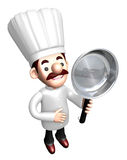 3D Chef Mascot holding a large frying pan Stock Images