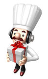 3D Chef Mascot holding a large Gift Box Royalty Free Stock Photos