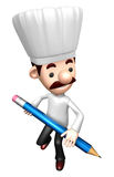 3D Chef Mascot holding a large Pencil Stock Photos