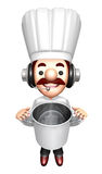 3D Chef Mascot holding a large skillet Royalty Free Stock Image