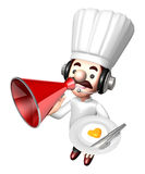 3D Chef mascot the left hand guides and the right hand is holdin Royalty Free Stock Image