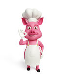 3d chef Pig with best sign pose. Illustration of 3d chef Pig with best sign pose Royalty Free Stock Photography
