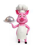 3d chef Pig with dish. Illustration of 3d chef Pig with platter Royalty Free Stock Image