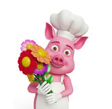 3d Chef Pig with flowers. Illustration of 3d Chef Pig with flowers Stock Images