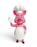 3d chef Pig with hi pose. Illustration of 3d chef Pig with hi pose Stock Illustration