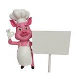 3d Chef Pig mit bestem Zeichen Stockfoto