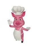 3d Chef Pig mit bestem Zeichen Lizenzfreie Stockbilder