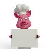 3d Chef Pig mit weißem Brett Lizenzfreies Stockfoto