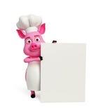 3d Chef Pig mit weißem Brett Stockfoto