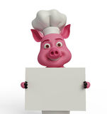 3d Chef Pig with white board. Illustration of 3d Chef Pig with white board Royalty Free Stock Photo