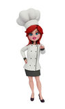 3d chef with pointing pose. Illustration of 3d chef with pointing pose Royalty Free Stock Photo