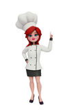 3d chef with pointing pose. Illustration of 3d chef with pointing pose Royalty Free Stock Image