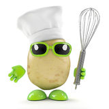 3d Chef potato with whisk Royalty Free Stock Images